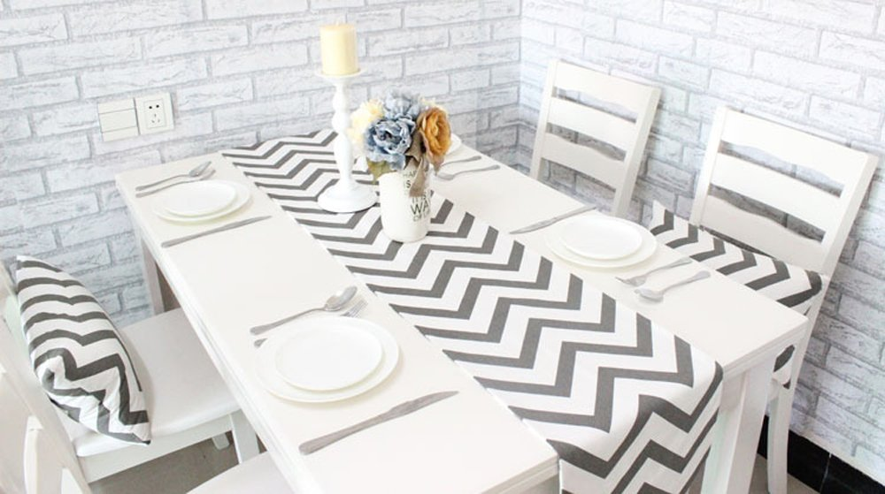 Uphome 1pc Classical Chevron Zig Zag Pattern Table Runner - Cotton Canvas Fabric Table Top Decoration, Grey and White by Uphome (Image #3)