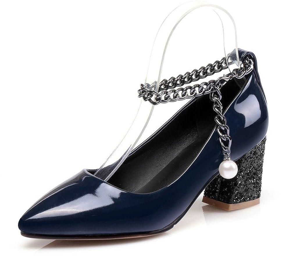 Aisun Damen Spitze Zehen Geschlossen Low Top Blockabsatz Metallic Kette Perlen Pumps