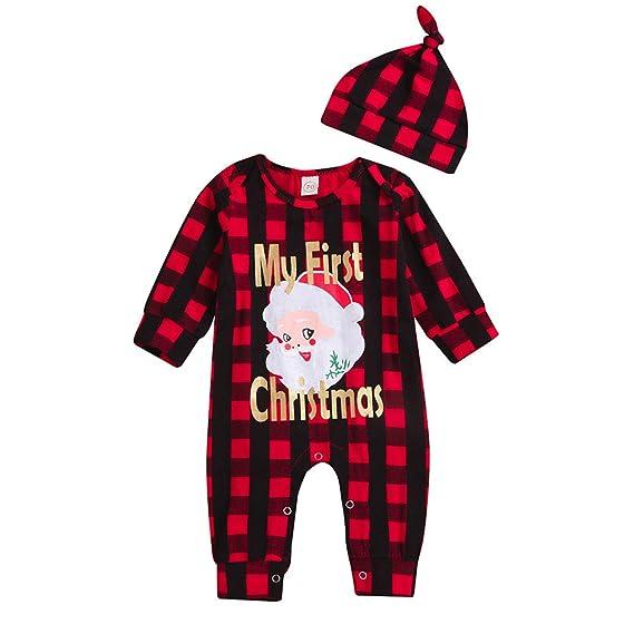 HCFKJ Ropa Bebe NiñA Invierno NiñO Manga Larga Camisetas Beb Conjuntos Moda Navidad Bebé ReciéN Nacido Chica Chico Palidez Santa Letra Mameluco ImpresióN ...