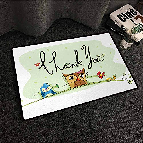 DuckBaby Fashion Door mat Animal Chubby Little Birds Owl Worm and Sparrow and Flowers with Thank You Quote Artwork Print Easy to Clean Carpet W30 xL39 ()