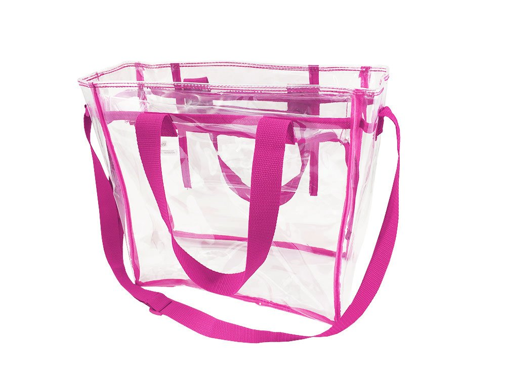 Largest Stadium Security Approved Clear Bag with Handles / Adjustable Strap / 12x12x6 / Transparent Gameday Tote for Men and Women
