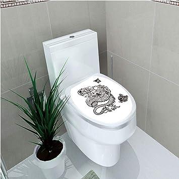 5214b2c502404 Toilet Sticker 3D Print Design,Japanese Dragon,Tattoo Art Style  Mythological Dragon Figure Monochrome