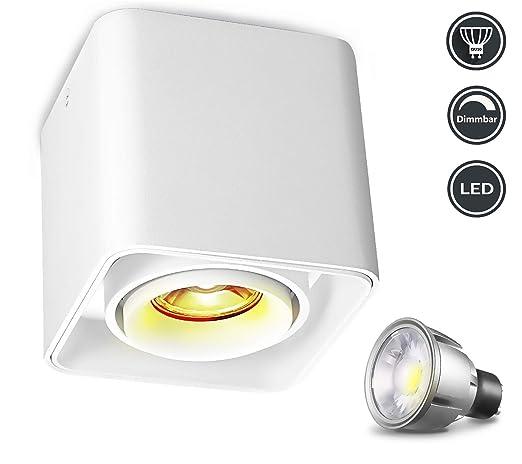Lámpara de techo LED-Regulable,Foco LED para techo puede girar 30 °, 7W luz blanca cálida, GU10, [incluida la fuente de luz regulable], puntos de ...