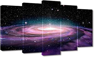 Visual Art Decor Modern Canvas Wall Art Starry Galaxy Universe Space Picture Prints Home Office Living Room Wall Decoration Astronomy Exhibition Decor (5 Pieces Large)