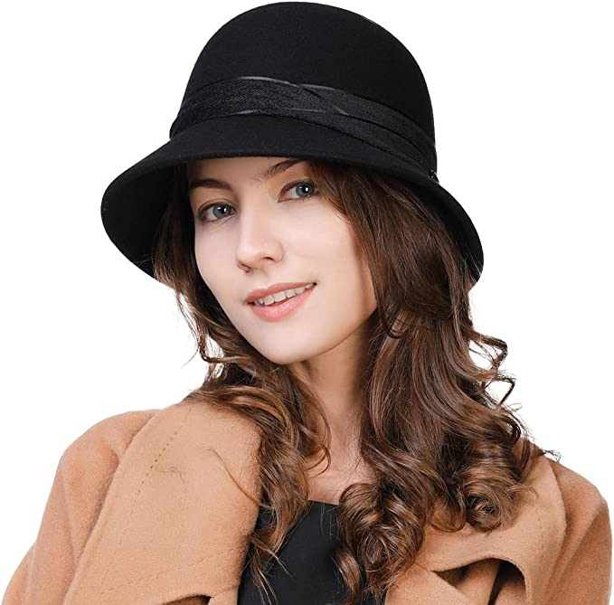 1920s Style Hats Comhats Womens 1920s Vintage Wool Felt Cloche Bucket Bowler Hat Winter Crushable £20.99 AT vintagedancer.com