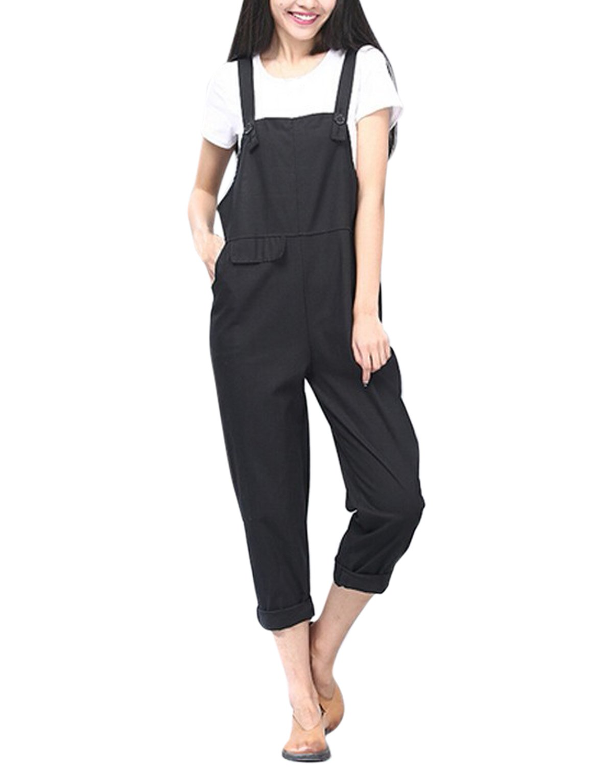 StyleDome Women's Sleeveless Overall Strappy Pocket Jumpsuit Romper Bib Trousers (US 12, Black)