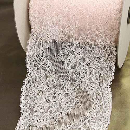 "8"" Wide Blush Pink Floral Stretch Lace, Made in France, Sold by The Yard"