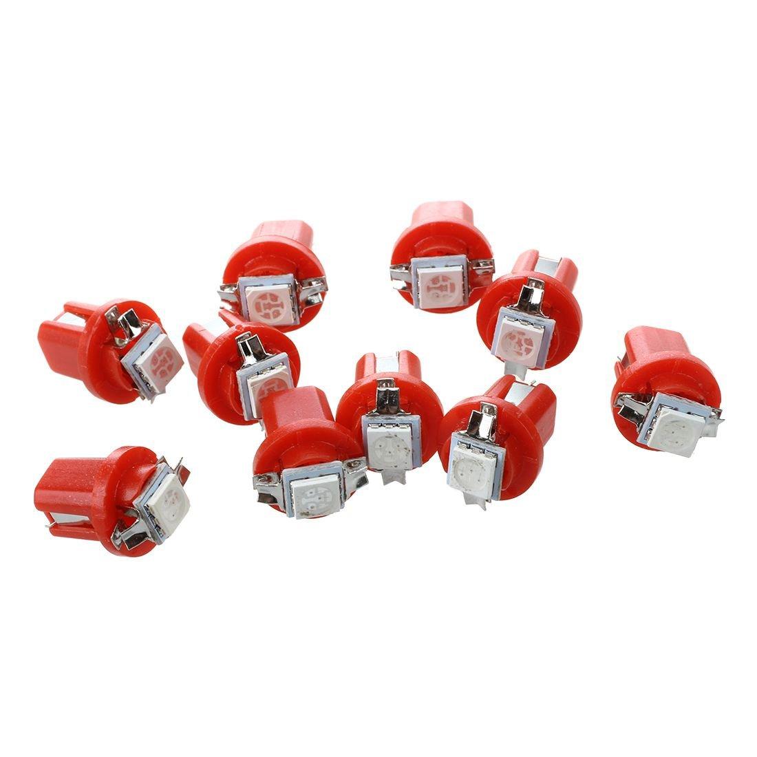 SODIAL(R) 10x AMPOULE LED SMD COMPTEUR TABLEAU DE BORD B8-5D T5 avec support ROUGE TUNING