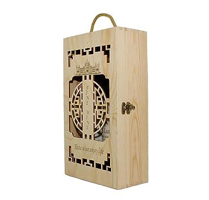 Lshky Caja De Vino Hueco Madera Retro Dos Botellas Color del Registro con Cerradura De Metal