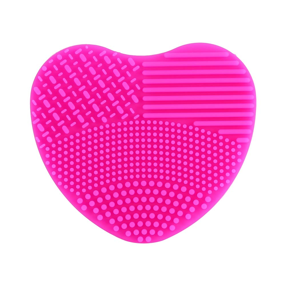 Makeup Brush Cleaner Mat, 7 Colors Mini Silicone Heart Cleaning Cosmetic Board Scrubber Cosmetic Brush Cleaner(Rose)
