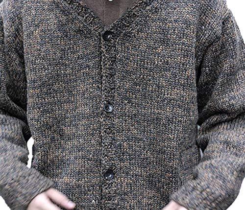 100% Royal Baby Alpaca Cardigan Sweater, Charcoal, XXXL