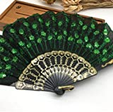 Black Green Home Decoration Crafts Vintage Retro Peacock Folding Fan Hand Plastic Lace Dance Fans