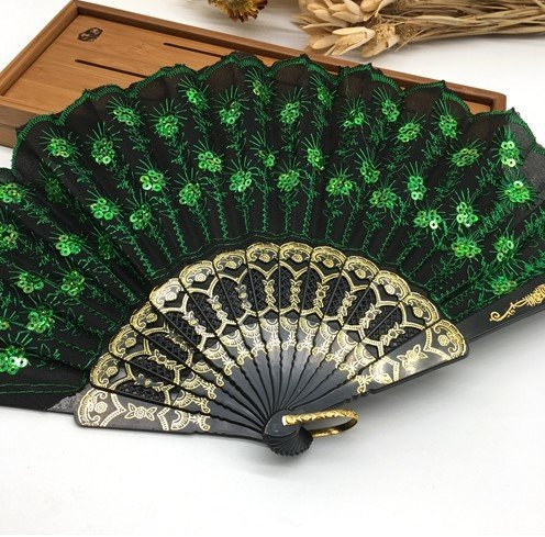 Black Green Home Decoration Crafts Vintage Retro Peacock Folding Fan Hand Plastic Lace Dance Fans