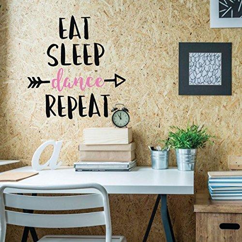 Girls Dance Wall Decals - Eat, Sleep, Dance, Repeat Quote Vinyl Lettering - Home Decor for Girl's Bedroom, Bathroom, Dance Studio from CustomVinylDecor
