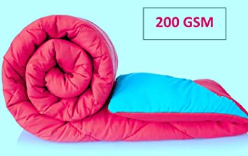 Jaipuri haat Cotton Soft Microfibre Reversible 200 GSM Double Comforter with Travel Bag (Pink Skyblue)