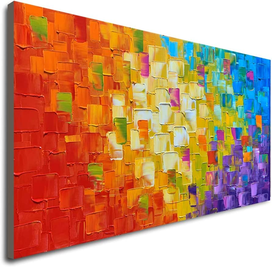 Seekland Art Hand Painted Texture Oil Painting on Canvas Abstract Wall Art Deco Contemporary Artwork Framed Ready to Hang 40x20 inch