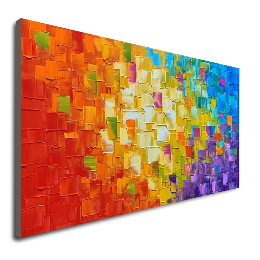 Seekland art hand painted texture large oil painting on canvas abstract wall art for living room decor contemporary artwork framed ready to hang framed
