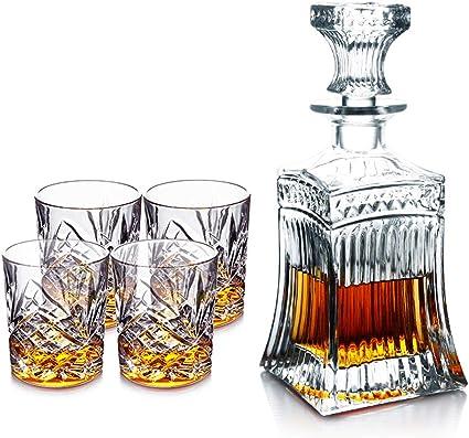 YWARX Whisky Decantador 5 Piezas, Libre de Plomo Cristalino ...