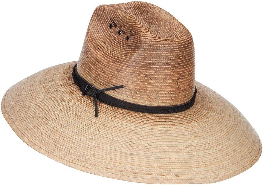Palm Straw Braid Lifeguard Double Hump Crown Large Brim Sun Hat