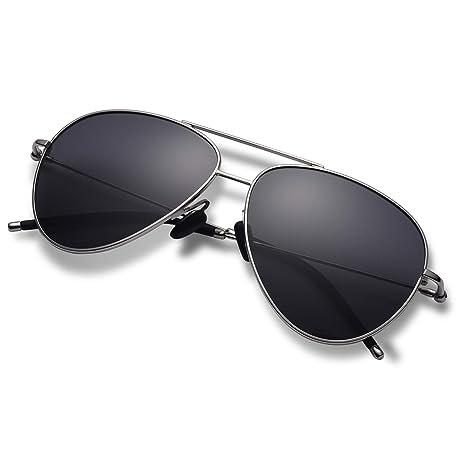c2e3fe467 Hisea Premium Military Style Classic Aviator Sunglasses, Polarized, 100% UV  Protection