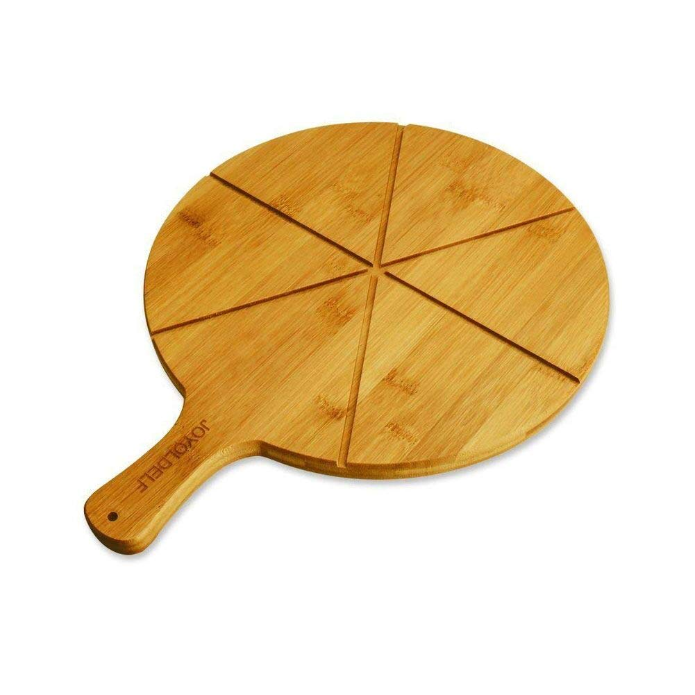 Natural Bamboo Pizza Cutting Board - Joyoldelf Pizza Peel Paddle with 6 Grooves, Perfect for Serving Cheeses, Bread & Pizzas, 11.8