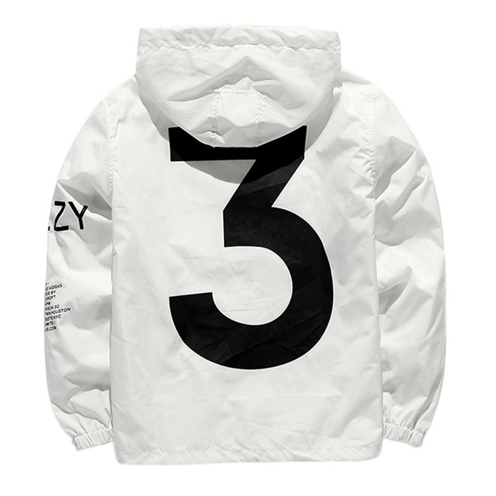 Cimno Men's Windbreaker Jacket Hooded Letters Printed Elastic Bottom Long Sleeve Zip up Jackets YEE-1