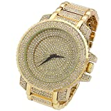 Fully Iced Out Pave Over Sized Gold Tone Hip Hop Men's Bling Bling Metal Band Watch Watches