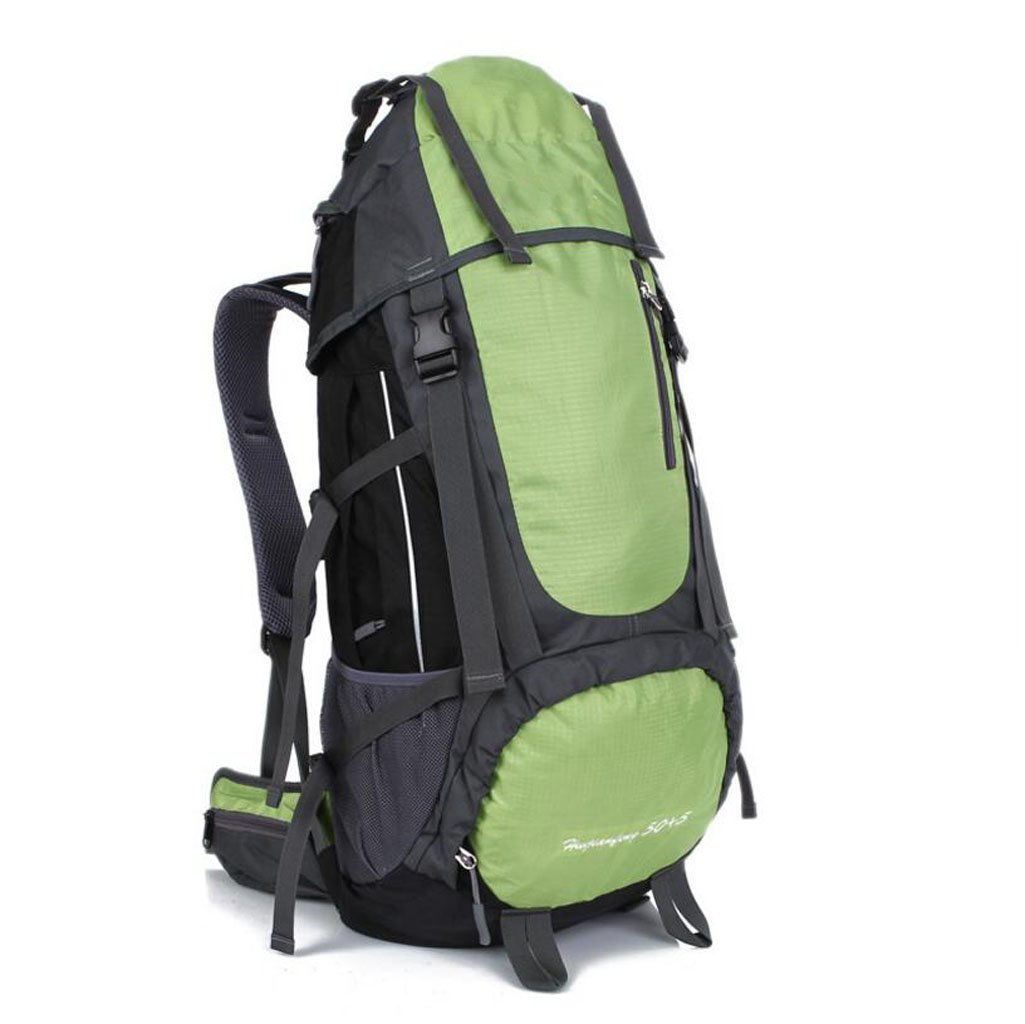 Color : Green JBHURF Sports mountaineering bag ultra light backpack outdoor travel riding Climbing 55L yellow