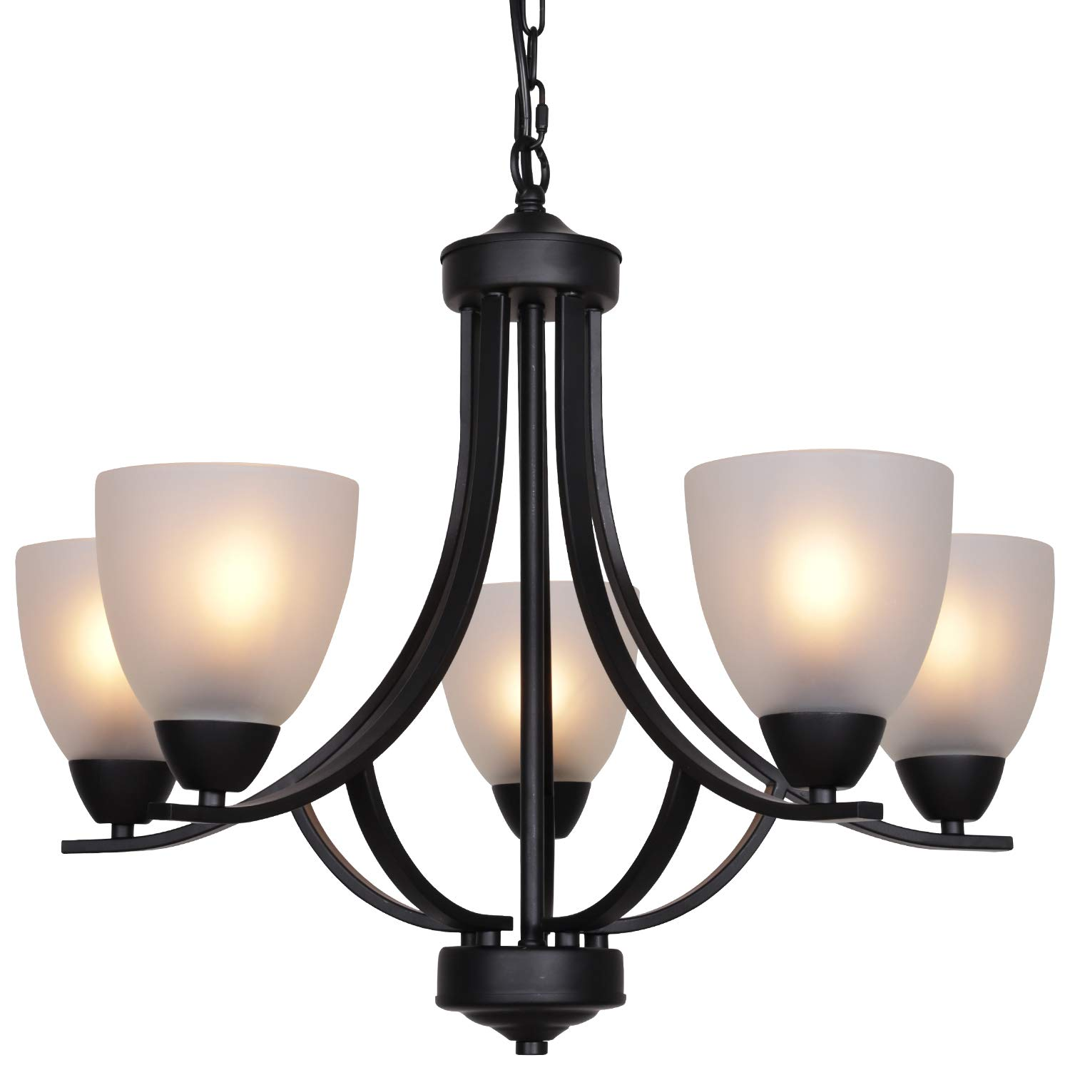 Vinluz 5 light shaded contemporary chandeliers with alabaster glass black rustic light fixtures ceiling hanging mid century modern pendant lighting for