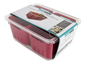 """Evriholder Kitchen Spaces KSDCB12-AMZ Twin Colander Stackable Food Storage Organizer for Fridge, Freezer, and Pantry 8.8"""" x 6.8"""" x 3.9"""" Red & Clear"""