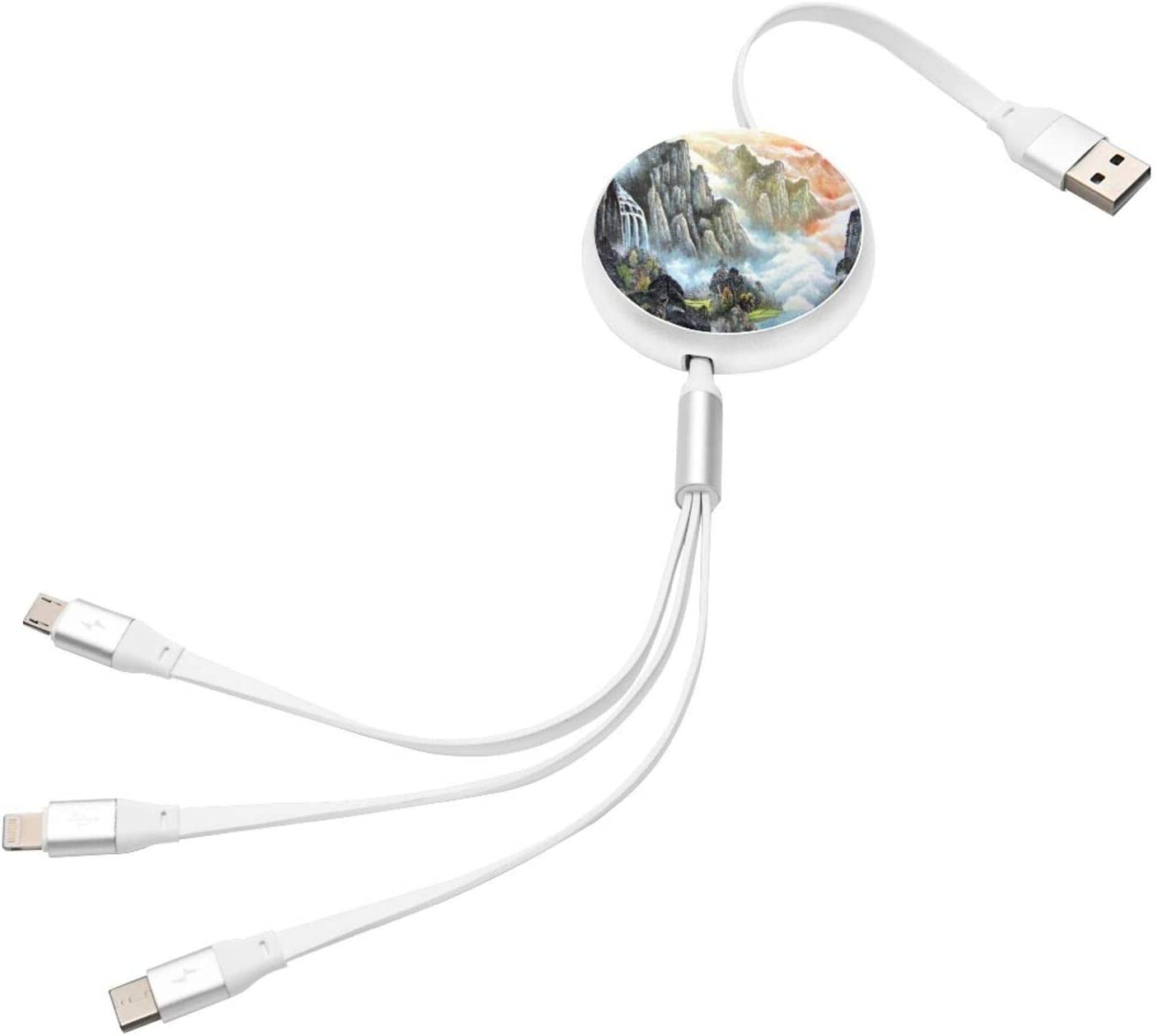 Apple and Type-C for Mobile Phones and Tablets Chinese Style Landscape Painting Ink Painting 3-in-1 Retractable Multi-Function Charging Cable for Android