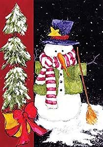 """Toland Home Garden 119402 Sweeping Snowman 12.5 X 18"""" Decorative USA-Produced Garden Flag"""