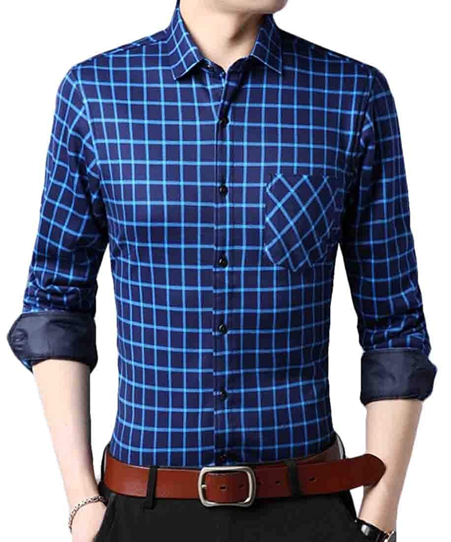 Qiangjinjiu Mens Regular-Fit Plaid Pockets Front Button Down Long Sleeve Shirts