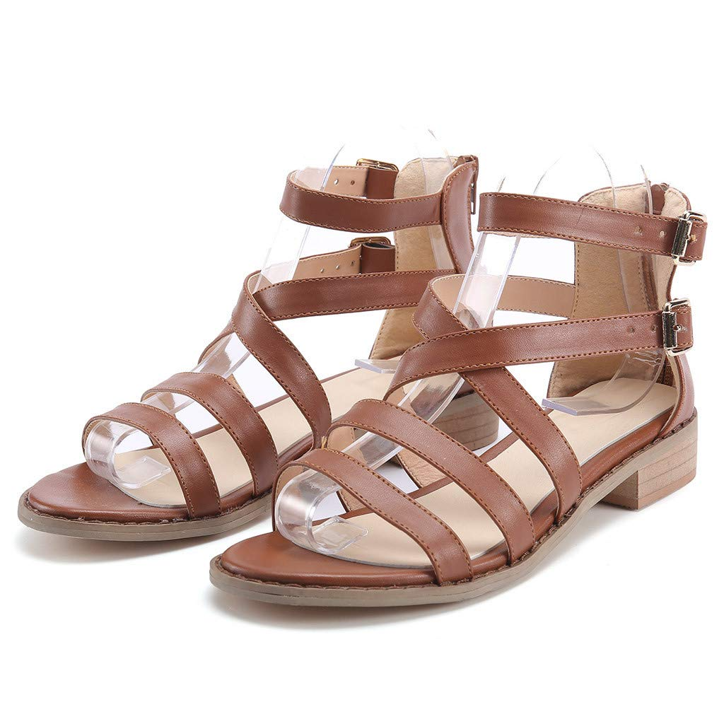 Pandaie Womens .. Sandals Fashion Women Ladies Buckle Strap Sandals Ankle Square Heel Beach Open Toe Shoes
