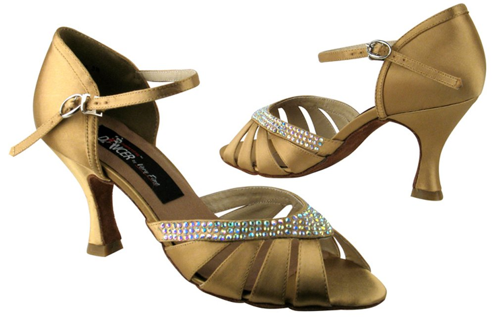 Very Fine Shoes Competitive Dancer Series CD6801 Open Toe with Rhinestones (4.5-2.5'', TAN SATIN)