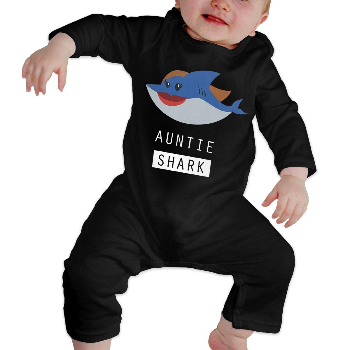 Baby Boy Girl Crew Neck Long Sleeve Solid Color Climbing Clothes Auntie Shark Baby Shark Doo Crawling Suit