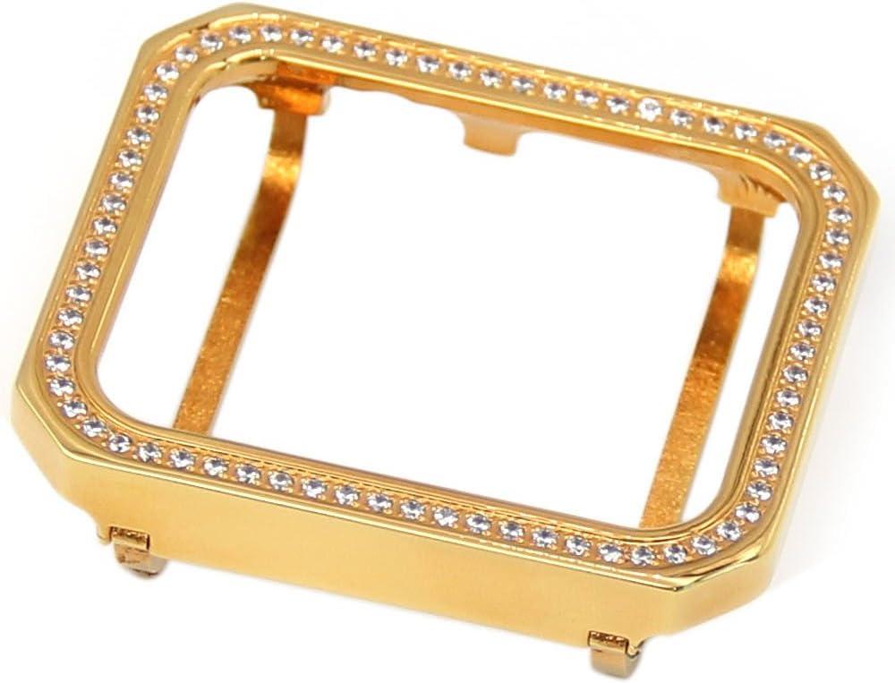 Callancity Handwork Rhinestone Diamonds 24k Gold Plating Square case Bezel Compatible with Apple Watch Series 3 2 1 All Generation (Gold Single Row, 38mm)