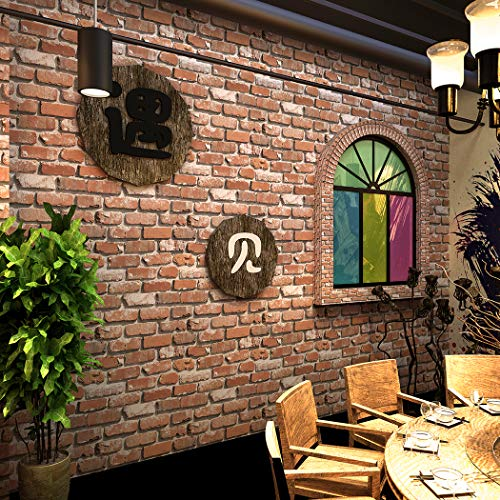 5602 Vintage Faux Brick Panel Wallpaper Roll,Brown/Orange Brick Wallpaper Living Room Cafe Bar Wall Decoration 393.7in×20.8in