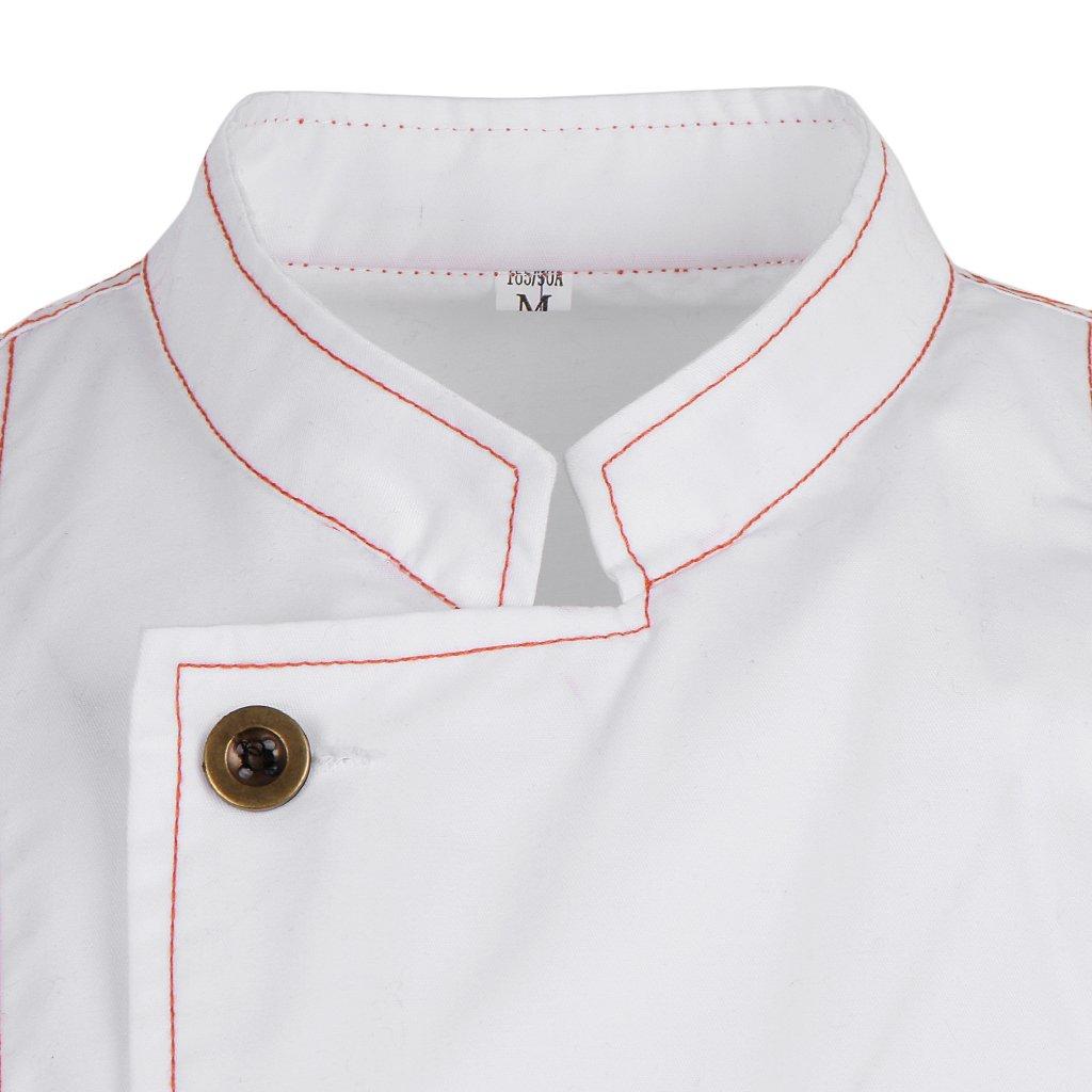 P Prettyia Camicia a Maniche Corte da Cuoco Hotel Uniforme da Cucina per Uomo Donna