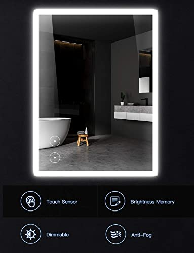 32×24 Bathroom Mirror with Led, Double Smart Touch Button Brightness Adjustment, Anti Fog Wall Mounted Led Bathroom Mirror, IP54 Waterproof Led Bathroom Vanity Mirror Vertical Horizontal