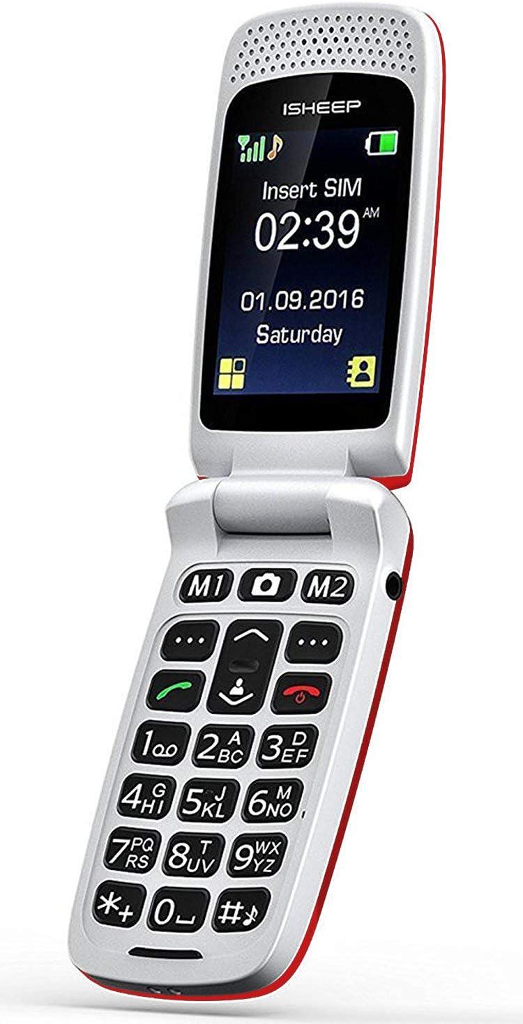 Teléfono móvil con Tapa para Personas Mayores, Teclas Grandes, Isheep SF213 gsm, Pantalla de 2,4 Pulgadas, tecla de Emergencia, cámara (Rojo)
