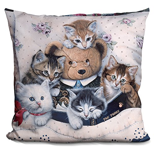 LiLiPi Kittens and Teddy Bear Decorative Accent Throw Pillow Accents Teddy