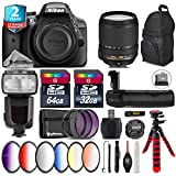 Holiday Saving Bundle for D3300 DSLR Camera + 18-140mm VR Lens + Flash with LCD Display + Battery Grip + 64GB Class 10 Memory Card + 6PC Graduated Color Filer Set - International Version