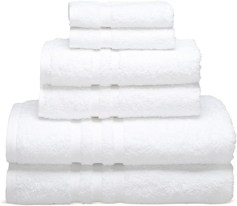 SET OF 6 NEW WHITE HOSPITALITY 100/% COTTON THICK HOTEL QUALITY BATH TOWEL