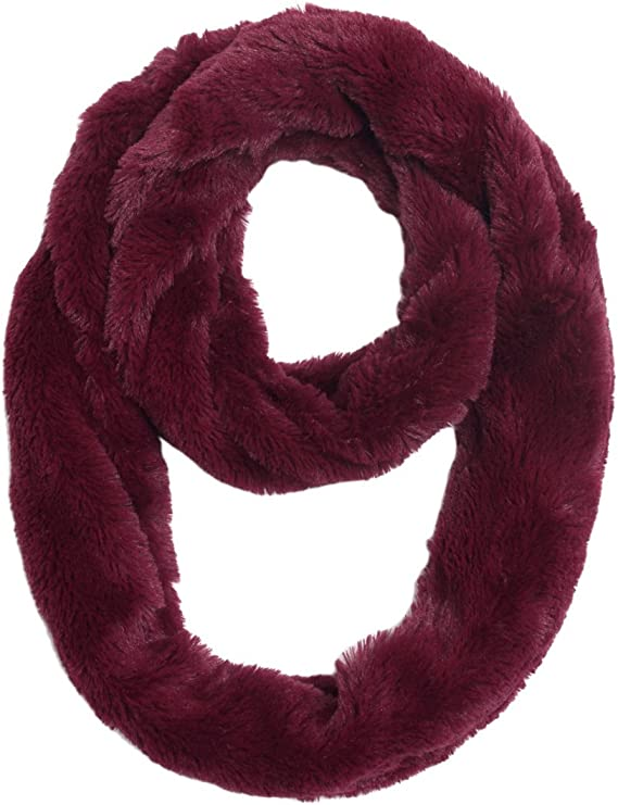 MIRMARU Womens Winter Soft Warm Faux Fur Infinity Loop Circle Scarf Neck Warmer