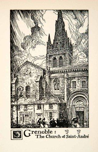 1927 Lithograph Church Saint Andre Grenoble France Cityscape Thornton Oakley - Original In-Text - Oakley Sa