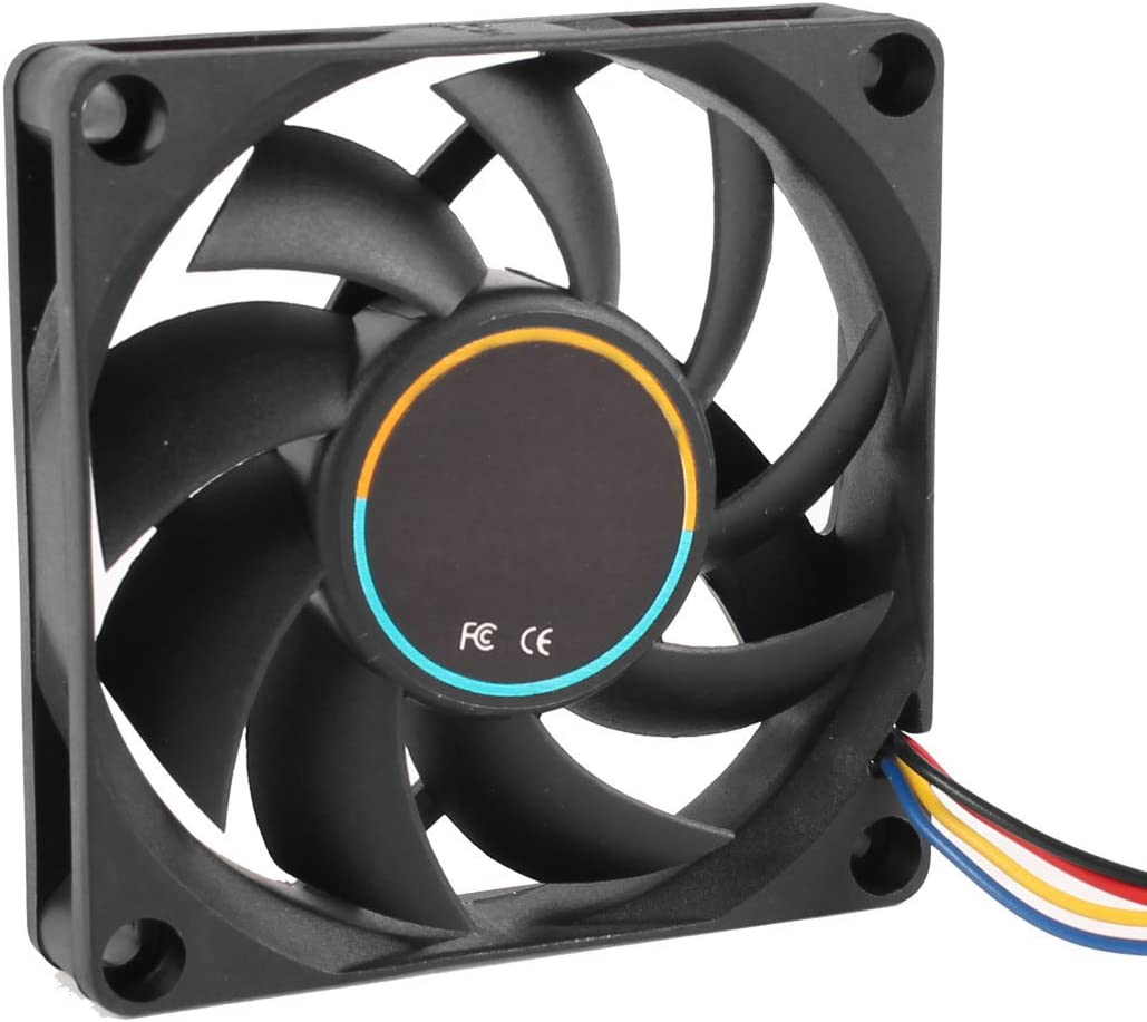 SODIAL(R) 70mmx15mm 12V 4 Pins PWM PC Boitier d'Ordinateur Refroidisseur CPU Ventilateur de Refroidissement Noir