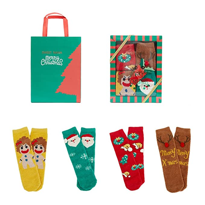 3bc500d965 Family Matching Christmas Socks Set Home Slipper socks Winter Fuzzy Crew  Socks  Amazon.ca  Clothing   Accessories