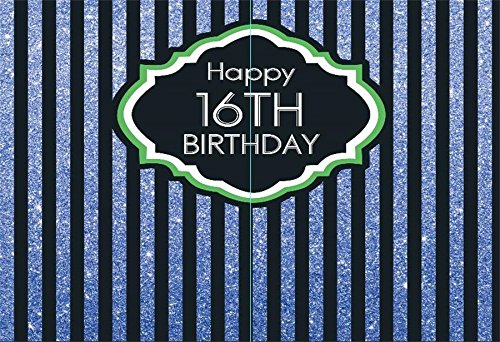 Yeele 7x5ft 16Th Birthday Backdrop Stripe Youth Young Boy Girl Birthday Party Banner Home Photography Background Baby Girl Boy Newborn Portraits Photo Booth Shoot Vinyl Photocall Studio Props