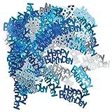SODIAL(R) Blue + light blue + silver Foil Birthday Confetti 2 Pack